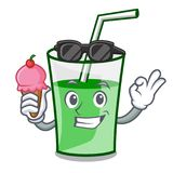 With ice cream green smoothie character cartoon. Vector illustration royalty free illustration