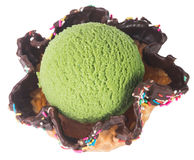 Ice cream. green tea ice cream on a background Royalty Free Stock Photos