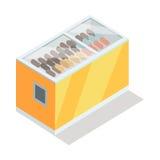 Ice-cream in Groceries Freezer Isometric Vector Royalty Free Stock Photography