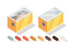 Ice-cream in Groceries Freezer Isometric Vector Royalty Free Stock Photos