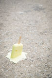 Ice cream on the ground. selective focus. Stock Photography