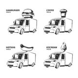 Ice cream, hamburger, hot dog, coffee trucks. Vintage vector monochrome pictures set for emblems, labels, badges Stock Photos