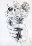 Ice cream in hand. Right hand holding ice cream cone with waffle and cherry. Pencil drawing, sketch Stock Images