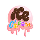 Ice cream hand drawn lettering in cartoon style. Icecream vector in nice colors isolated on white background. Chocolate letters and words in the style of sweet Stock Photo
