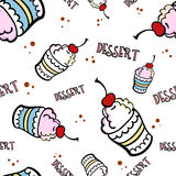 Ice Cream. Hand-drawn ice cream on the white background. Pattern. Vector illustration Royalty Free Stock Photo