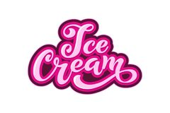 Ice Cream handwritten inscriptions. Stock Photo