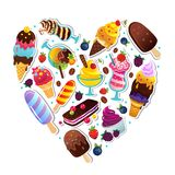 Ice cream heart illustration Stock Image