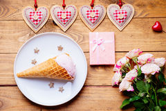 Ice cream, heart shapes, roses and gift box Royalty Free Stock Photography