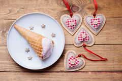 Ice cream and heart shapes Stock Photography