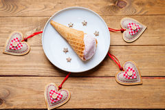 Ice cream and heart shapes Royalty Free Stock Image