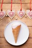Ice cream and heart shapes Stock Photos