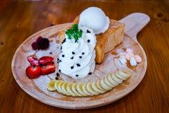 Ice cream honey toast. Delicious ice cream honey toast Stock Images