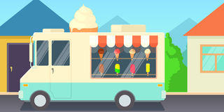 Ice cream horizontal banner shop, cartoon style Stock Image
