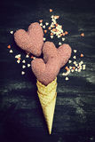 Ice Cream Horn with Sweethearts on a Chalkboard. Love, Valentine Royalty Free Stock Images
