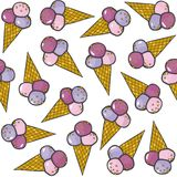Ice cream in horns messy colorful pattern Stock Photos