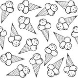 Ice cream in horns messy monochrome pattern Royalty Free Stock Image