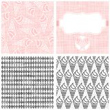 Ice cream in horns monochrome pattern set Royalty Free Stock Photography