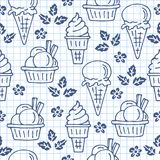 Ice-cream-20. Ice cream seamless pattern. Design element for cafe menu, textile prints or gift wrap. Hand drawn style Royalty Free Illustration