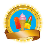 Ice cream and ice lollies on shield and banner Stock Photography