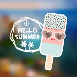 Ice cream, ice lolly Kawaii with sunglasses pink cheeks and winking eyes, pastel colors. Hello Summer card design, banner template. Beach mountain island on Stock Photography