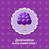 Ice cream icon. Black berry ice cream on a stick. Frozen juice on a violet background. Yummy emblem. Summer time card Royalty Free Stock Photo