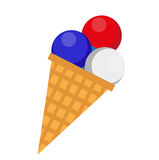 Ice cream icon, flat style. 4th july concept. Isolated on white background. Vector illustration. Ice cream icon, flat style. 4th july concept. Isolated on white royalty free illustration