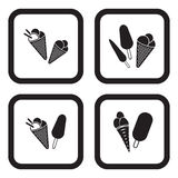 Ice cream icon in four variations.  Stock Photography