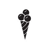 Ice cream icon, mono vector symbol. Royalty Free Stock Photography