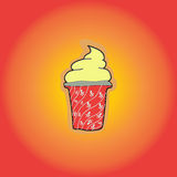 Ice Cream icon. On red Royalty Free Stock Images
