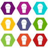 Ice Cream icon set color hexahedron Royalty Free Stock Image