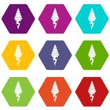 Ice Cream icon set color hexahedron Royalty Free Stock Photos