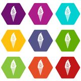 Ice Cream icon set color hexahedron Royalty Free Stock Images