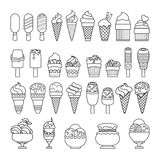 Ice cream icon. Set of cute various desserts icons. Stock Photography