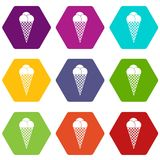 Ice Cream icon set color hexahedron Royalty Free Stock Photo