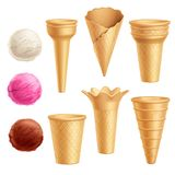 Ice Cream Icon Set. Realistic colored and isolated ice cream icon set with cones scoops and three flavors of ice cream vector illustration Stock Photos