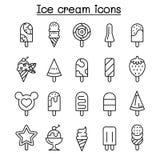 Ice cream icon set in thin line style vector illustration
