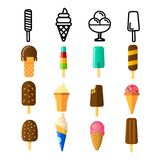 Ice Cream Icon Set Vector. Cream Cone. Chocolate Vanilla Food. Tasty Cold Frozen Dessert. Delicious Product. Line, Flat stock illustration