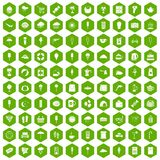 100 ice cream icons hexagon green. 100 ice cream icons set in green hexagon isolated vector illustration Stock Photo