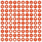 100 ice cream icons hexagon orange. 100 ice cream icons set in orange hexagon isolated vector illustration Stock Image