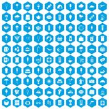 100 ice cream icons set blue. 100 ice cream icons set in blue hexagon isolated vector illustration stock illustration
