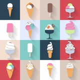 Ice cream icons set in flat style. Stock Images