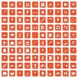 100 ice cream icons set grunge orange. 100 ice cream icons set in grunge style orange color isolated on white background vector illustration Stock Images
