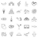 Ice cream icons set, outline style. Ice cream icons set. Outline set of 25 ice cream vector icons for web isolated on white background Royalty Free Stock Images
