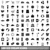 100 ice cream icons set, simple style Royalty Free Stock Photography