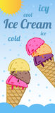 Ice cream - icy refreshing. Icy refreshment in hot summer days. Oblong poster with theme of ice cream. Suitable for ice cream stands. I used free font for Royalty Free Stock Images