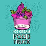 Ice cream illustration for food truck on vintage background. stock photography