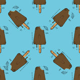 Ice cream  illustration. Ice cream. Hand drawn stock illustration. Seamless background pattern Royalty Free Stock Photo