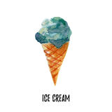 Ice cream illustration. Hand drawn watercolor on white background. Royalty Free Stock Photo