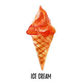 Ice cream illustration. Hand drawn watercolor on white background. Royalty Free Stock Images