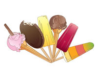 Ice cream. An illustration of a selection of ice cream treats with cones choc ices and ice lollies on a white background Royalty Free Stock Images